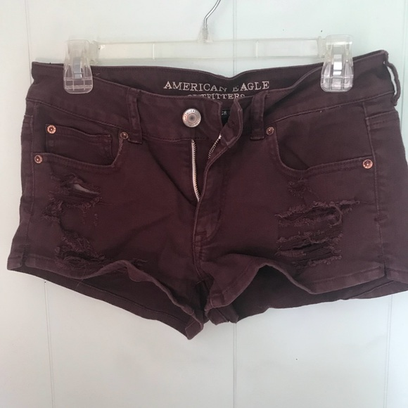 American Eagle Outfitters Pants - American Eagle Burgundy Distressed shorts SIZE 8